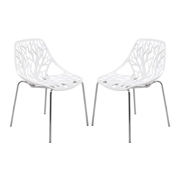 Asbury Modern White Dining Chair with Chrome Legs (Set of 2) | Overstock.com Shopping - Great Deals on Dining Chairs