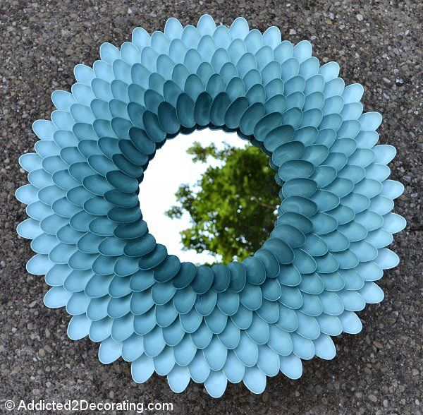 Pin for Later: 221 Upcycling Ideas That Will Blow Your Mind Plastic Spoon Chrysanthemum Mirror