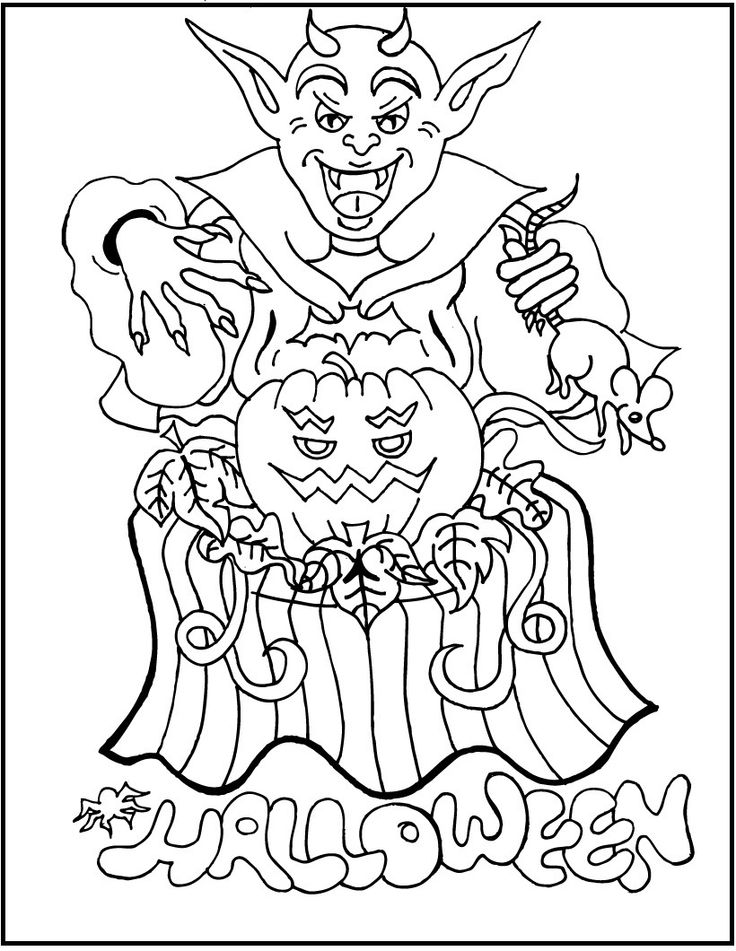 Goblin Sorcerer Halloween Coloring Picture For Kids