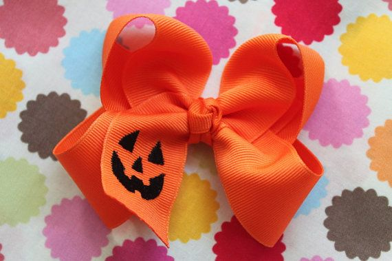 Halloween Bow -- Pumpkin Bow -- Large Orange Boutique Bow embroidered with jack-o-lantern