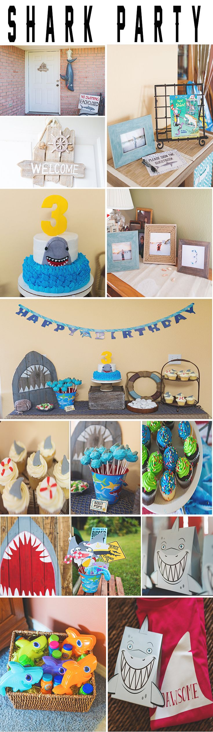 Shark birthday Party ideas, shark cake, shake cake pops, shark fin cupcakes, painted shark mouth Photo Booth, shark photo props, shark goodie bags, shark book guestbook. personalized shark t-shirts