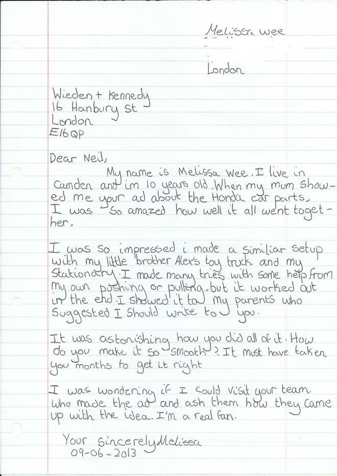 Menina de 10 anos manda carta para agência elogiando comercial da Honda http://www.bluebus.com.br/menina-de-10-anos-manda-carta-para-agencia-elogiando-1-comercial-da-honda/