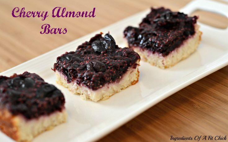 Cherry Almond Bars - bottom layer (almond flour, coconut flour, baking stevia, baking powder, Greek yogurt/applesauce, almond extract), top layer (frozen cherries, chia seeds, almond extract, coconut flour, baking stevia)