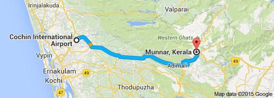 From: Cochin International Airport, Airport Road, Kochi, Kerala 683111 To: Munnar, Kerala