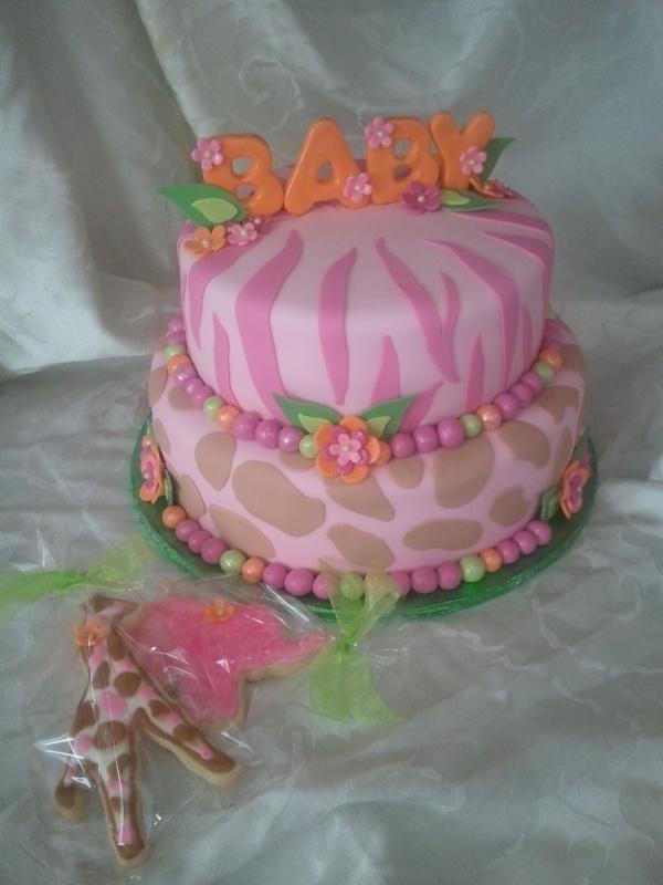 Girls Safari Baby Shower Cake