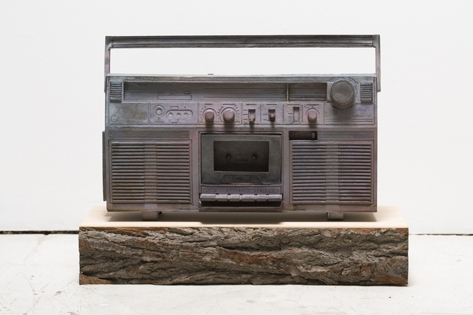 Cast bronze boombox from artist Ricky Swallow.