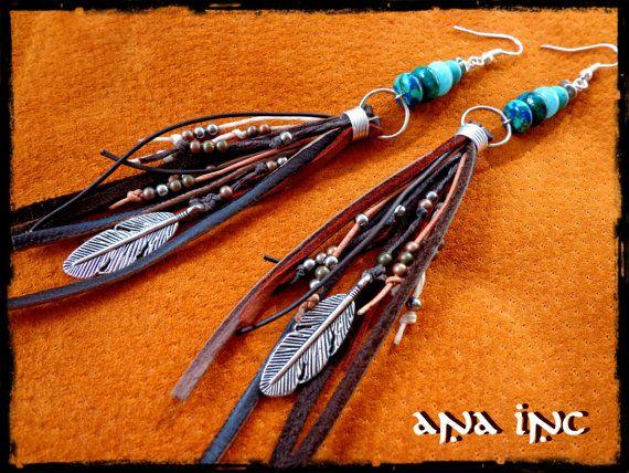 LEATHER dangle EARRINGS Native American Indian Earrings long fringe earrings Bohemian earrings Hippie Earrings feather Gemstones tribal boh