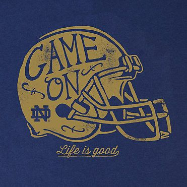 University of Notre Dame Women's V-Neck T-Shirt | Life Is Good | Game On | Irish Football