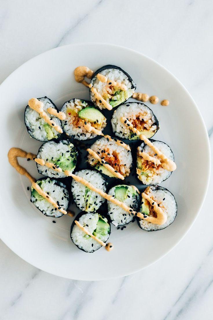 Kimchi, Cucumber & Avocado Vegan Sushi