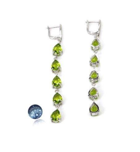 Fabulous Green PERIDOT Quartz 5 Teardrop Gemstones, 925 Sterling Silver Long 8.5cm Statement Earrings Jewellery with Lock Hooks! by Ameogem on Etsy