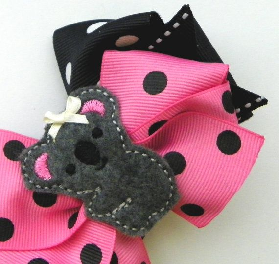Pink Koala Layered Boutique Hair Bow Hairbow By Fortheloveofzebra 6 00 Maybe Make It