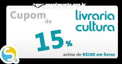 O site da Livraria Cultura, pela primeira vez, liberou códigos de cupom de desconto de 15% para compra de livros.