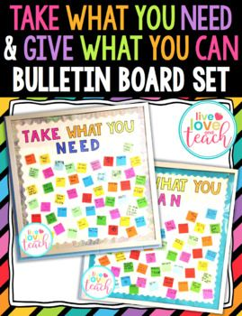 "This is a bundle for creating ""Take What You Need"" & ""Give What You Can"" bulletin boards!  I posted my bulletin boards on my Instagram recently and received a lot of positive feedback! I decided to create this file so that you all can recreate these wonderful bulletin boards in your schools!"