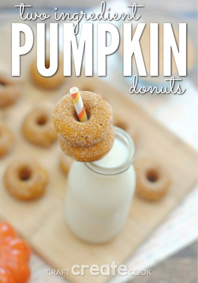 Your family will love these adorable and delicious 2 ingredient mini pumpkin donuts!