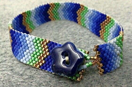 Peyote Bracelet with Ceramic Button