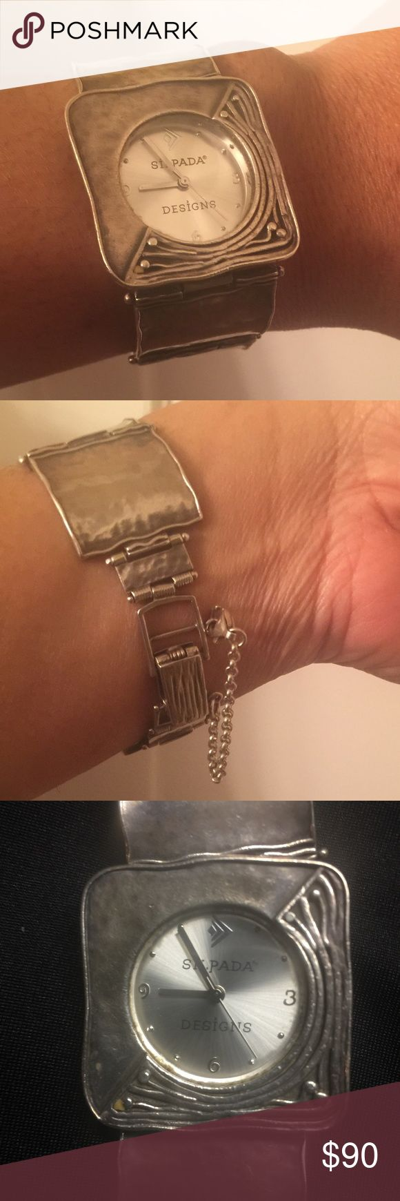 Silpada, Watch, used Jazzy Silpada .925 Sterling Silver Watch with safety latch.  Good condition. It's been in my jewelry box. It needs a little polishing and a battery. Silpada Jewelry