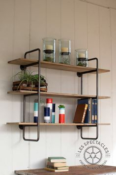 industrial pipe u0026 wood shelving unit small
