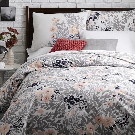 $39.00  Size: Full/ Queen  Printed Petals Duvet Cover + Shams - Shockwave | west elm
