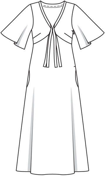 Burda 2012/12 [131] - Longue robe à taille Empire en satin, si féminine avec ses manches papillon et sa longue lavallière qui vient orner le décolleté en V. T36-44