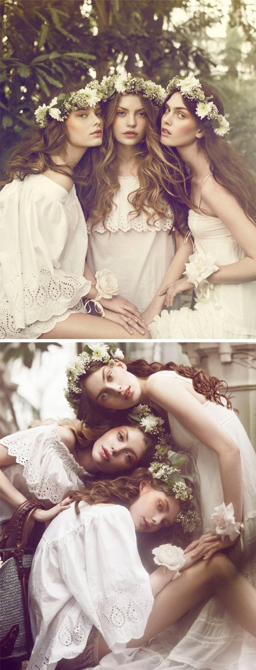 Bridesmaida flower crowns instead of a veil and tiara, doing this