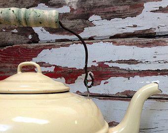 Teiera, smalti, smalto commerciale Vintage Tea Kettle, Natale, cabina, campeggio, smalto Ware, Shabby Chic, Agriturismo, cucina industriale