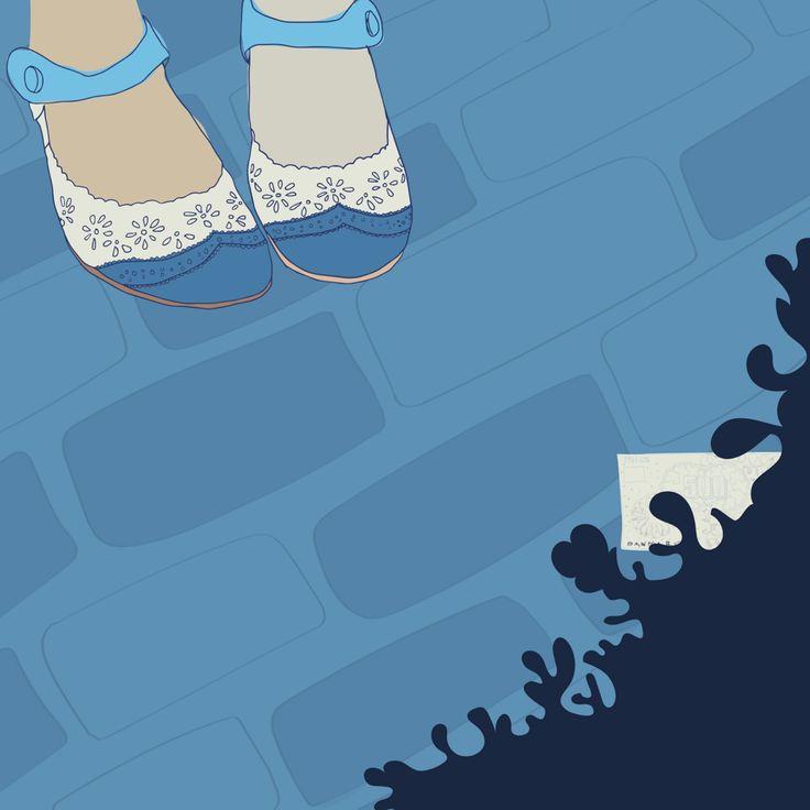 Editorial illustration by Vibeke Høie, #magazine #illustration #vibekehoie #shoes #drawing #blue