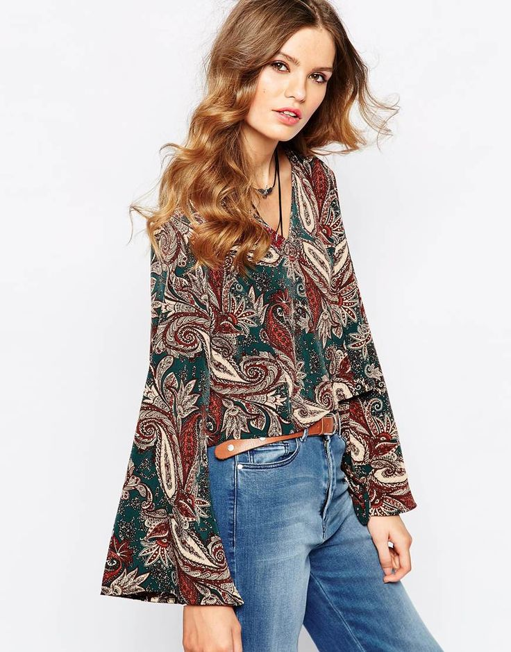 First & I 70's Flare Sleeve Top