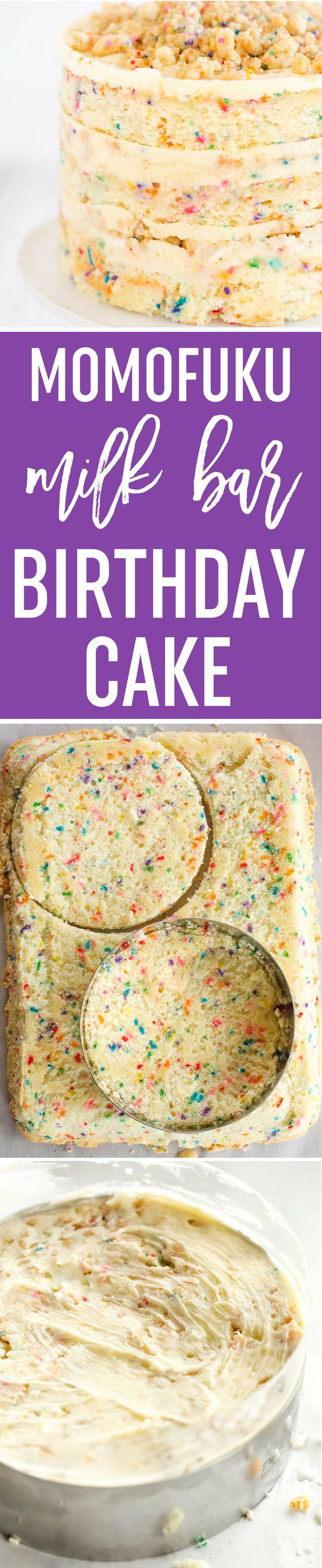 Momofuku Milk Bar Birthday Cake - Layers of funfetti cake loaded with sprinkles, vanilla frosting, and birthday cake crumbs! Make it for your favorite person! via @browneyedbaker