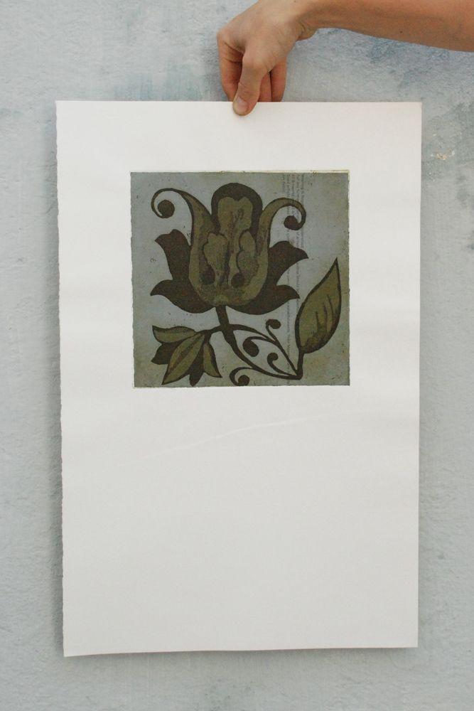 Azulejo de papel II - Calcografia e chine collé - walter Almeida 2014