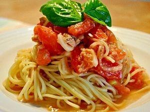「トマトとツナの冷製パスタ」熱い夏にぴったりのさっぱりパスタです。【楽天レシピ】
