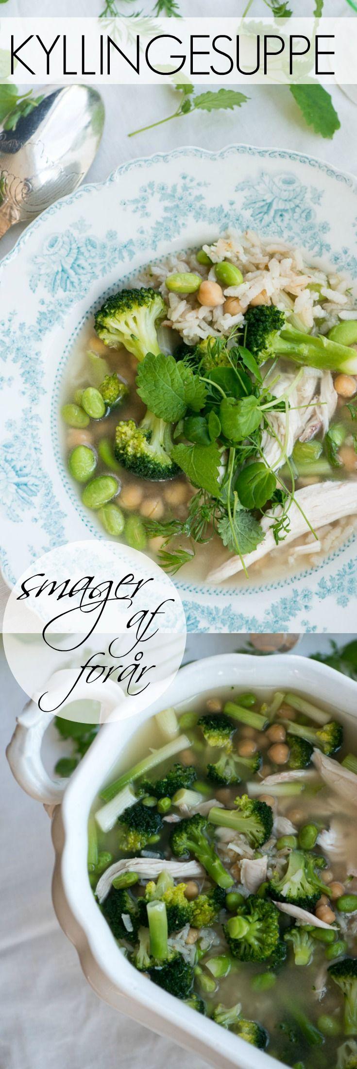Forårsfrisk kyllingesuppe med ris og lækre grønsager. Toppet med friske krydderurter er det sådan en suppe som man kommer i forårshumør af at spise. Opskrift fra Marinas Mad