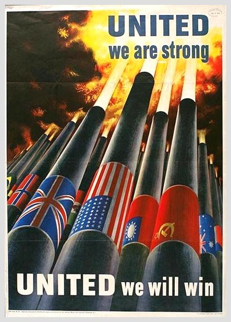 World War II Poster, American, depicting the flags of the Allied countries