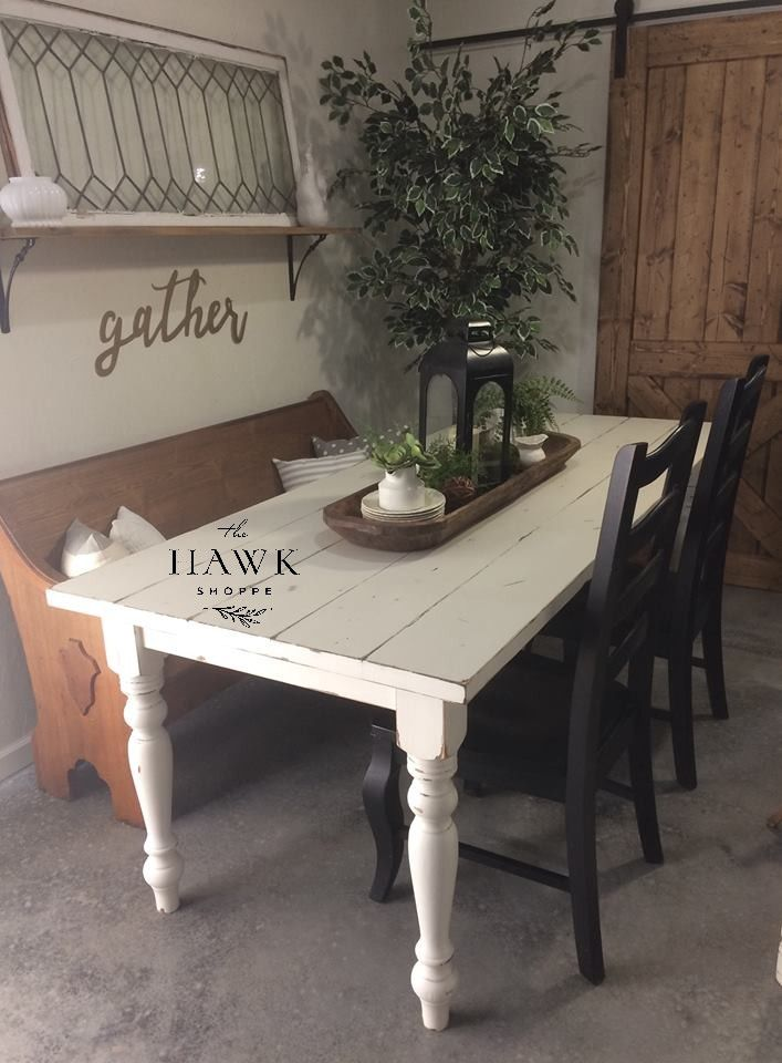 Surprising All White Farm Table Paired With A Vintage Oak Church Pew Theyellowbook Wood Chair Design Ideas Theyellowbookinfo