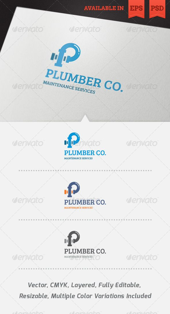 Plumber Logo Template - GraphicRiver Item for Sale   Plumber
