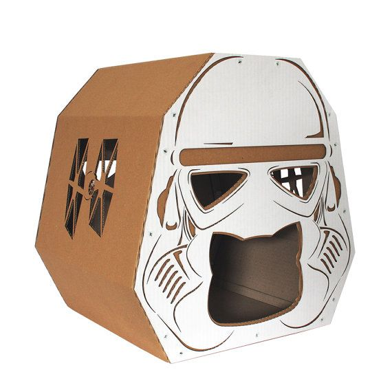 Don't be surprised if your feline friend is tempted by the dark side once they set foot in this Stormtrooper house.