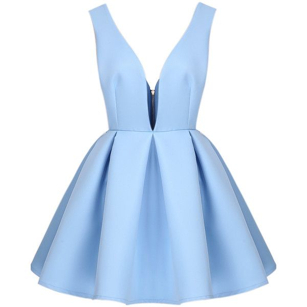 Blue V Neck Backless Midriff Flare Dress (£17) ❤ liked on Polyvore featuring dresses, vestidos, short dresses, robe, blue, knee length cocktail dresses, flare cocktail dress, sleeveless shift dress, blue dress and mini dress