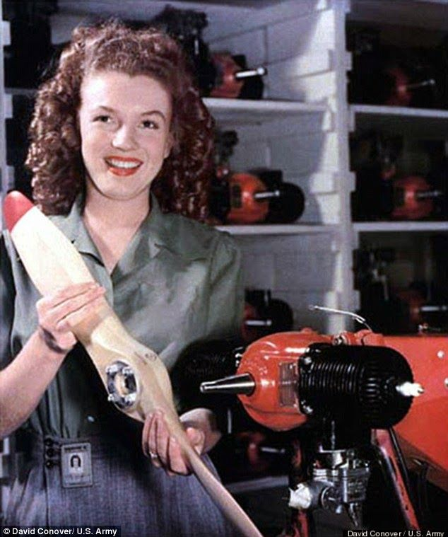 vintage everyday: Rare Photos of a Young Marilyn Monroe Assembling Drones During World War II