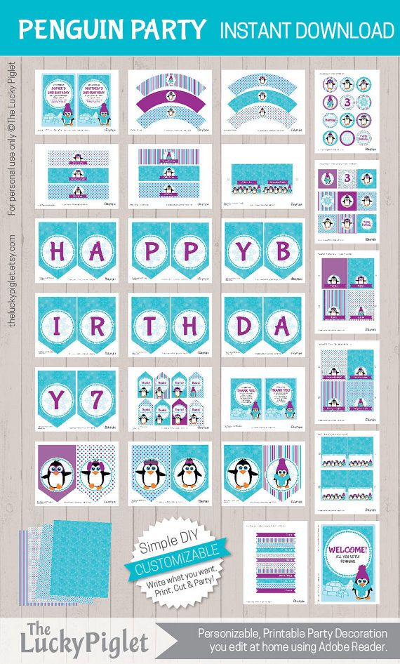 PENGUIN BIRTHDAY INVITATION and PARTY DECORATION, VIOLET - FULL PRINTABLE PENGUIN PARTY PACKAGE - Instant Download, Easy to Edit Text in Adobe Reader  Penguin Party Package in violet and blue are colorful party printables for your penguin birthday party, penguin baby shower and more. This is a full printable party package with more than 60 different parts with cute penguins, coming directly from Antarctica for your party. The Penguin Party Package is a colorful and easy Do-It-Yourself…