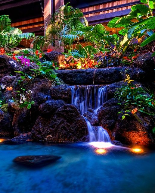 Waterfall in the lobby of the Polynesian Resort of WDW