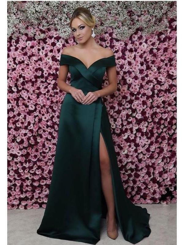 840cdfae99 Off the Shoulder Mermaid Prom Dresses Sexy Thigh Split Green Formal Dresses  ARD1341-SheerGirl