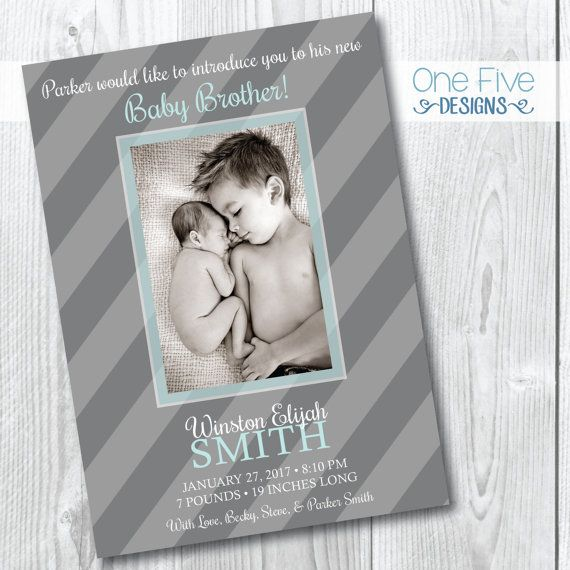 Sibling Birth Announcement (big brother)- Printable (5x7)