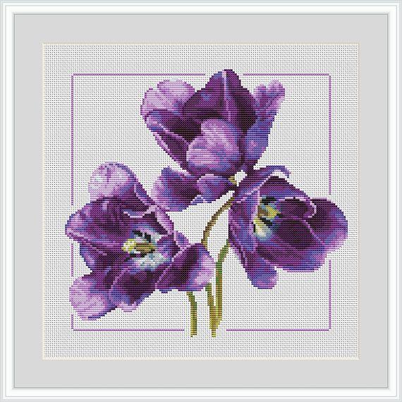 Cross stitch pattern, flower easy Tulips pattern  Counted cross