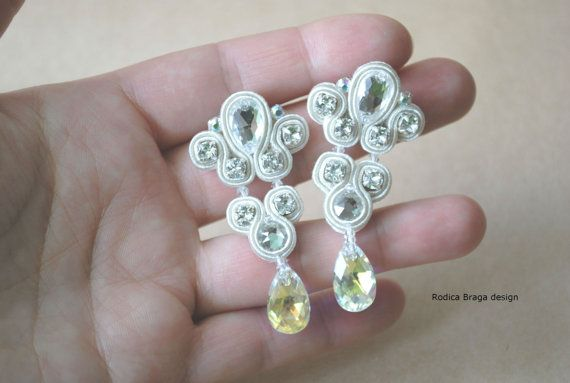 wedding earrings and comb weddning soutache set by rodicasoutache