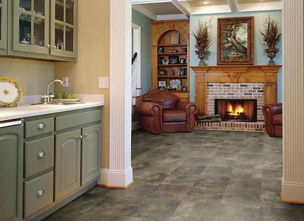 Warm Green #laminate #tile Floor For Traditional #kitchen And Living Room  Design.