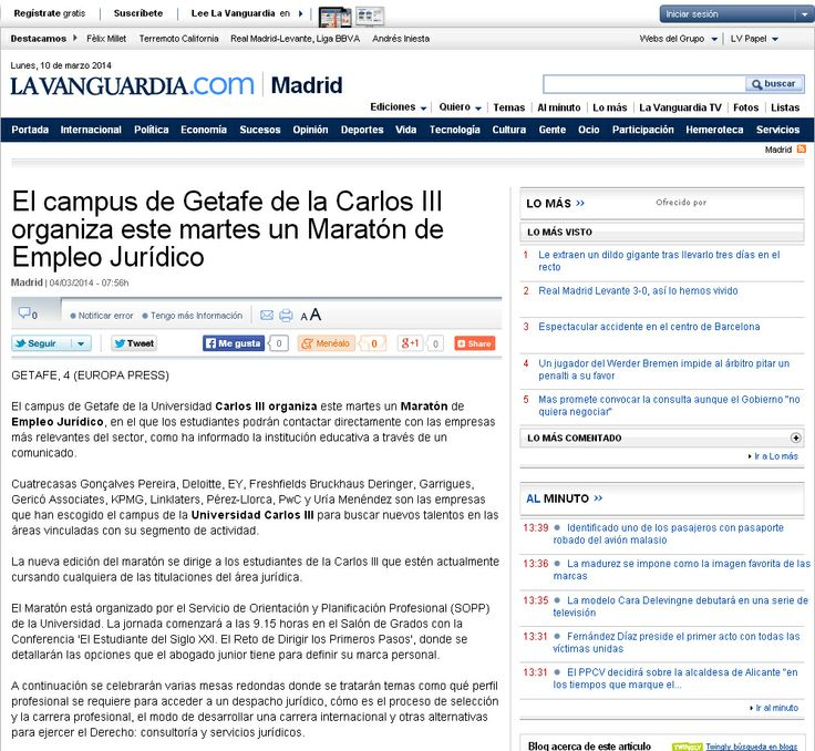 La Vanguardia newspaper released an article on Carlos III University of Madrid's Legal Work Marathon with firms such as Garrigues, Cuatrecasas, Linklaters, Deloitte, EY, PwC, KPMG, etc. and Gericó Associates.  Our Managing Partner, Marc Gericó and our Associate, Elena Álvarez Bayón, presented in their conference to students the reality and changes of the legal market.