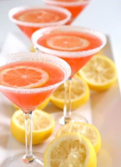 Strawberry Lemon drop martinis.