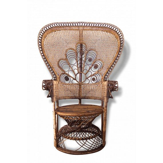 Vintage Wicker Peacock Chair  Rattan and by LesIndecisesFrance