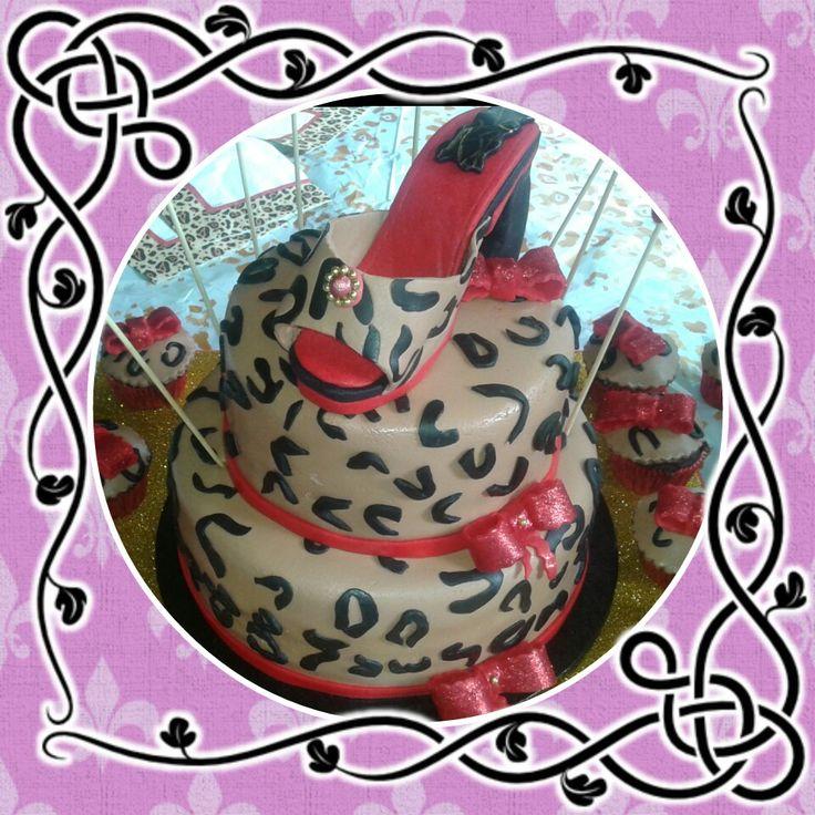 Tarta zapato leopardo
