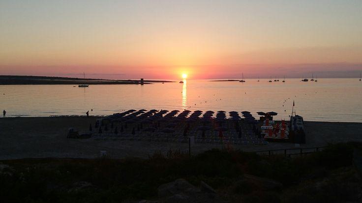 Splendida alba sulla spiaggia della pelosa Stintino
