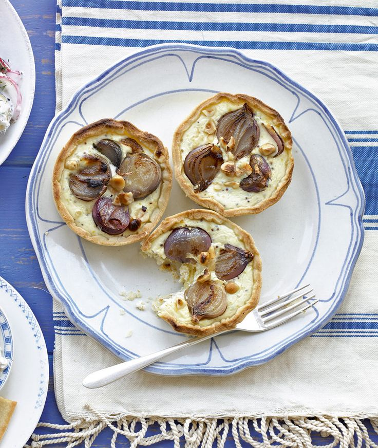 The combination of hazelnuts, shallots and mustard make these tarts ideal for a light lunch or dinner party starter.